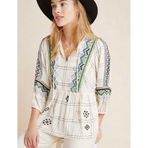 Anthropologie Vineet Bahl Embroidered Blouse XS